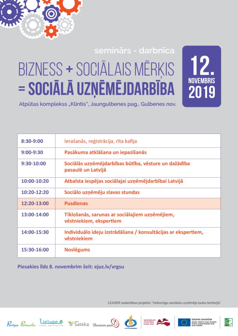"""""""Bizness + Sociālais mērķis = Sociālā uzņēmējdarbība"""" – seminārs – darbnīca biedrības """"SATEKA"""" teritorijā"""