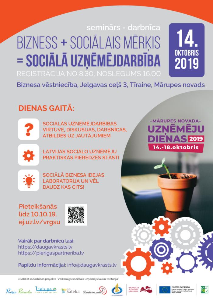 Sociālās uzņēmējdarbības seminārs – darbnīca Pierīgas Partnerībā